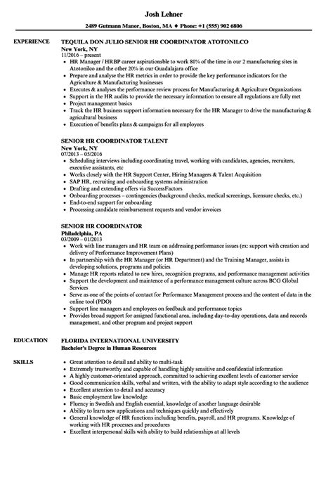 Hr Coordinator Resume by Senior Hr Coordinator Resume Sles Velvet