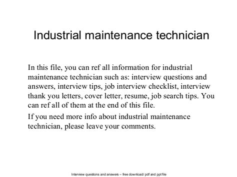industrial maintenance technician cover letter