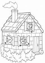 Pigs Coloring Three Pig Colouring Clipart Houses Stick Schweinchen Kleinen Drei Clip Ausmalbilder Cliparts Template Building Library Pdf Popular Thanksgiving sketch template