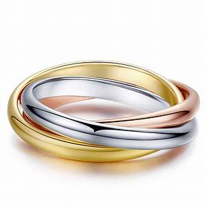 three rings eternity 18k yellow white rose gold engagement With three gold wedding rings