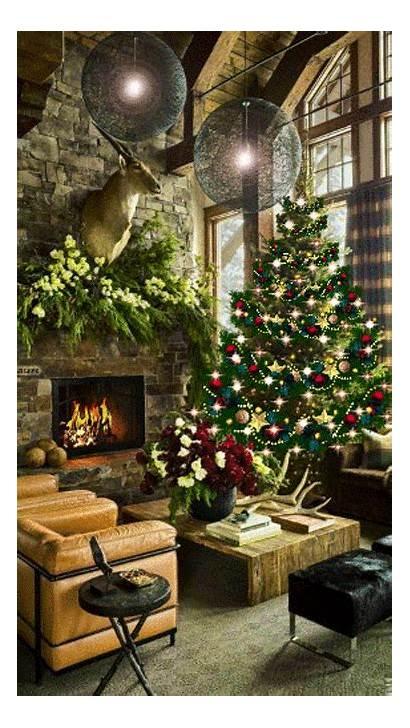 Fire Christmas Place Tree Fireplace Lights