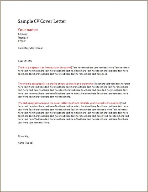 Exle Cover Letter Cv by Cv Cover Letter Template Word Excel Templates