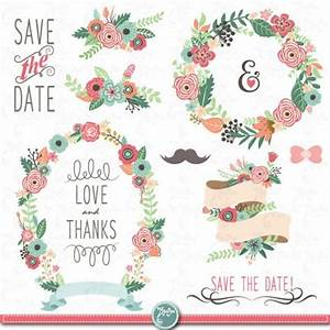 wedding clipart pack quotwedding floraquot clip artvintage With wedding invitations with flowers vintage frame