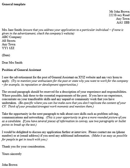 general cover letter template exle icover org uk