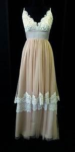 Blush pink lace boho wedding dress by bellavittoria on for Wedding dress etsy