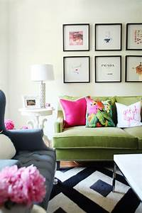 25 best ideas about green sofa on pinterest velvet sofa for What kind of paint to use on kitchen cabinets for pop art wall decals