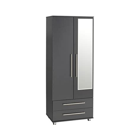 Wardrobe With Drawers And Mirror by Bobby 2 Door Wardrobe 2 Drawers Mirror Ideal Furniture