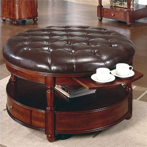 classic and vintage round tufted ottoman coffee table with