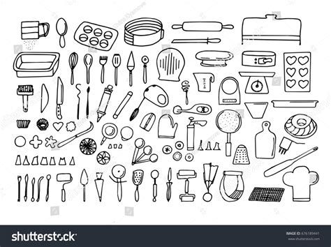 Baking Tools Essentials Hand Drawn Bakery Stock Vector