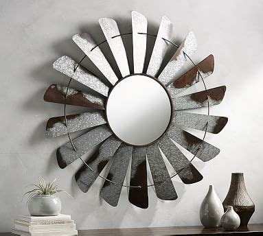 galvanized windmill mirror pottery barn