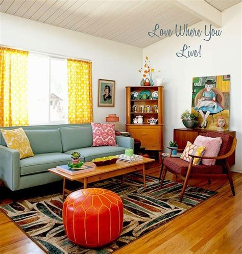 retro style house retro atomic living room d 233 cor home living dining pinterest pink accents ottomans
