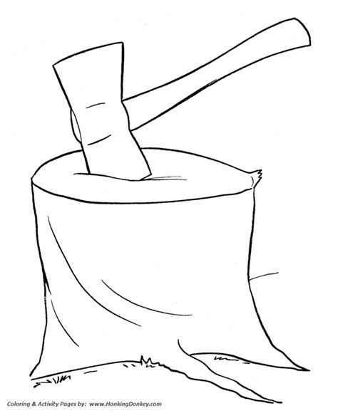 farm work  chores coloring pages chopping wood