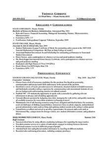 Objective For Resume Accounting Internship by Internship Resume Exle Sle