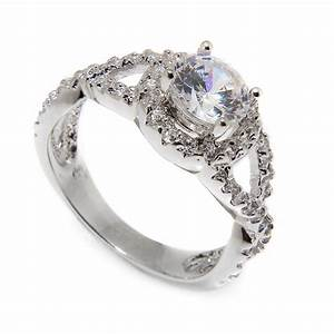 sterling silver round shaped engagement ring sbgr00404 With round wedding ring