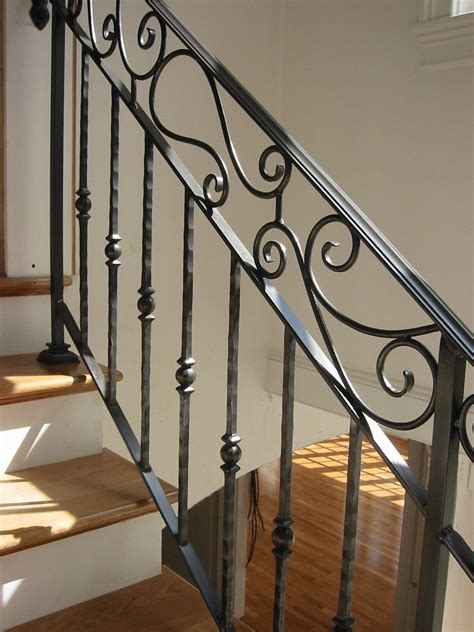 rod iron railing hand crafted custom interior wrought iron railing by amaral industries custommade com