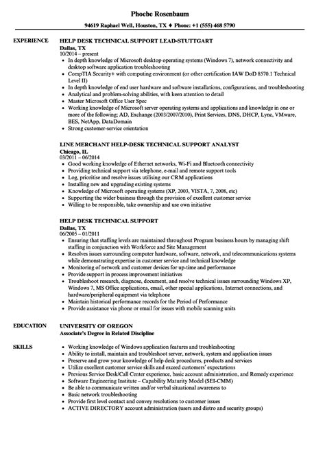 help desk technical support resume sles velvet