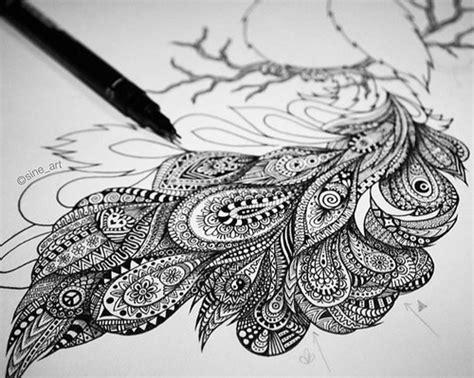 stunning drawing   zentangle peacock  atsineart