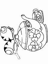 Coloring Teapot Schmetterlinge Printable Animals Disegni Farfalle Papillons Coloriage Butterflies Farfalla Disegno Tea Dibujo Pot Hummingbird Adults Colorare Animali K9 sketch template
