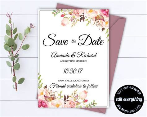 pink floral save  date wedding template pink floral
