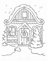 Coloring Winter Roof sketch template