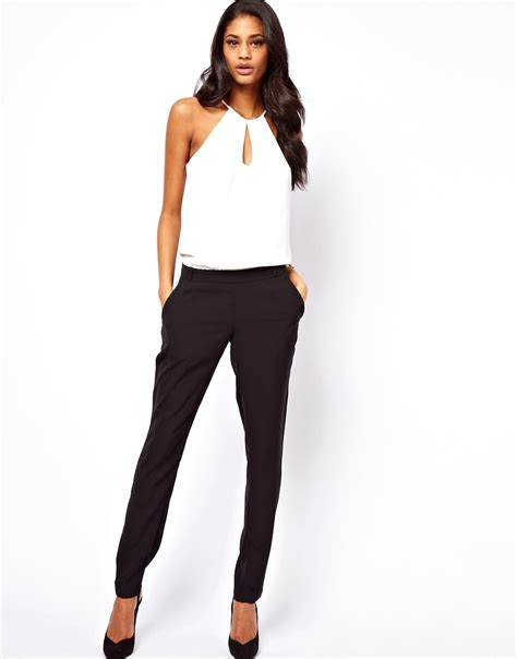halter jumpsuits asos asos jumpsuit with halter in monochrome at asos