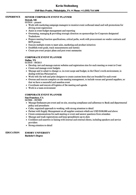 Event Planner Resume by Corporate Event Planner Resume Sle Vvengelbert Nl