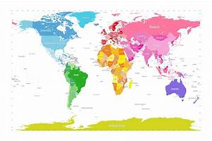 Continents World Map Large Text For Kids by Michael Tompsett