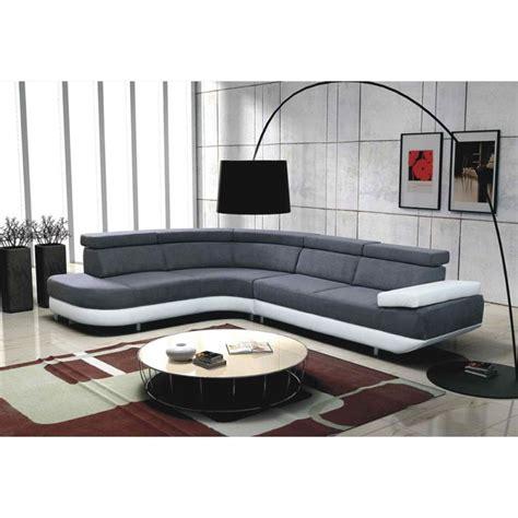 canapé cuir blanc design canapé d 39 angle gauche design zeta gris et blanc achat