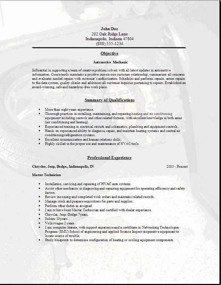 automotive mechanic resume occupational exles sles