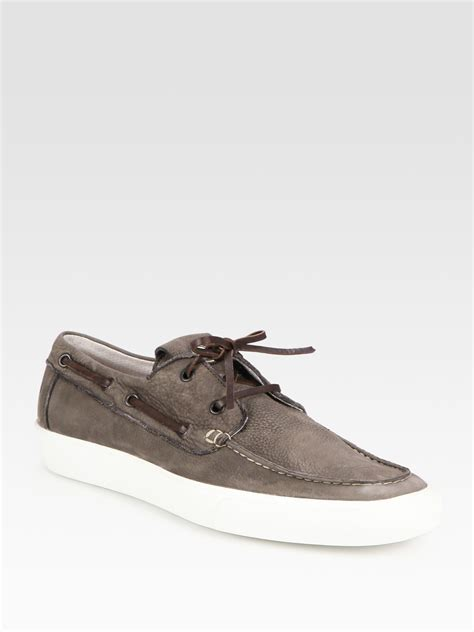Leather Boat Shoes by Moncler Ramatuel Leather Boat Shoes In Brown For Lyst