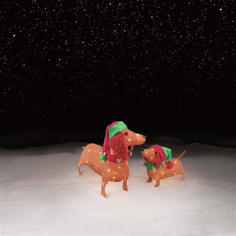 set of 2 tinsel dachshunds with 70 clear lights kmart