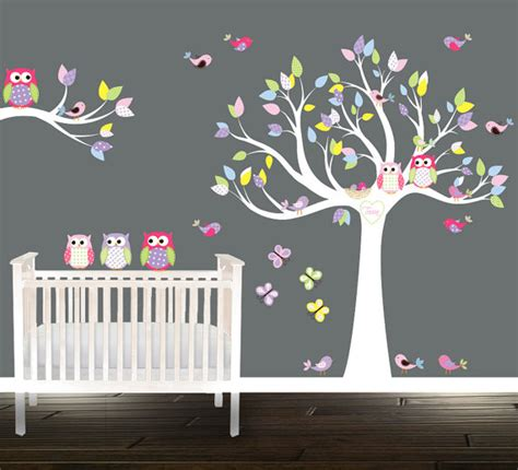 sticker arbre chambre bébé tree owl wall stickers wall tree decal nursery tree birds