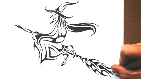 witch designs how to draw a witch tribal tattoo design style youtube
