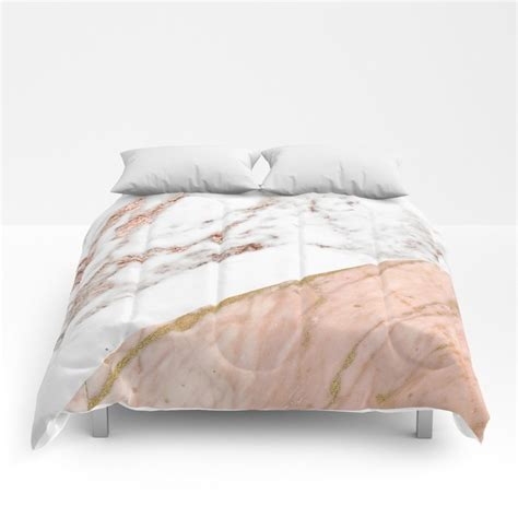 marble rose gold blended comforters  marbleco society