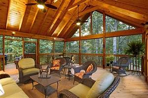 Screen Porch  Exposed Rafter Gable Ceilings And Grilling