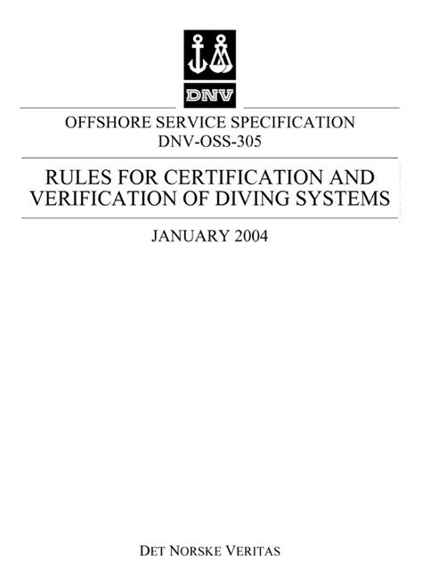 DNV-OSS-305 Rules for Diving Systems   Verification And
