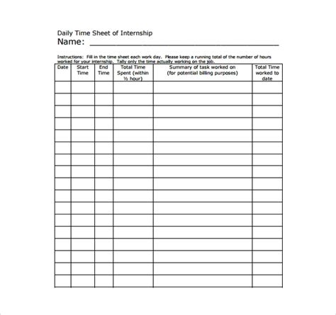 sample daily timesheet templates   sample