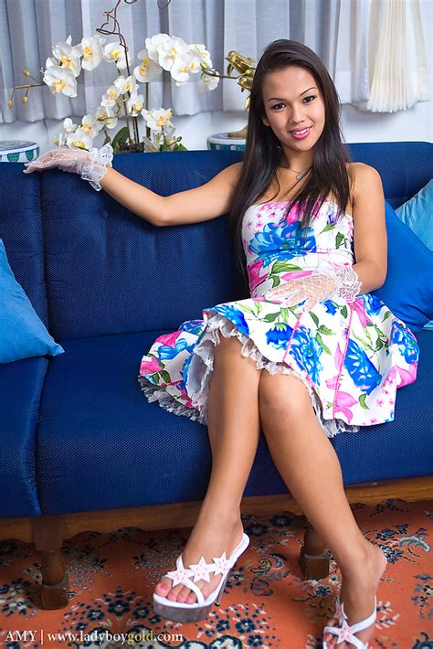 Naked Asian ladyboy Amy is easy on eyes and has perfect