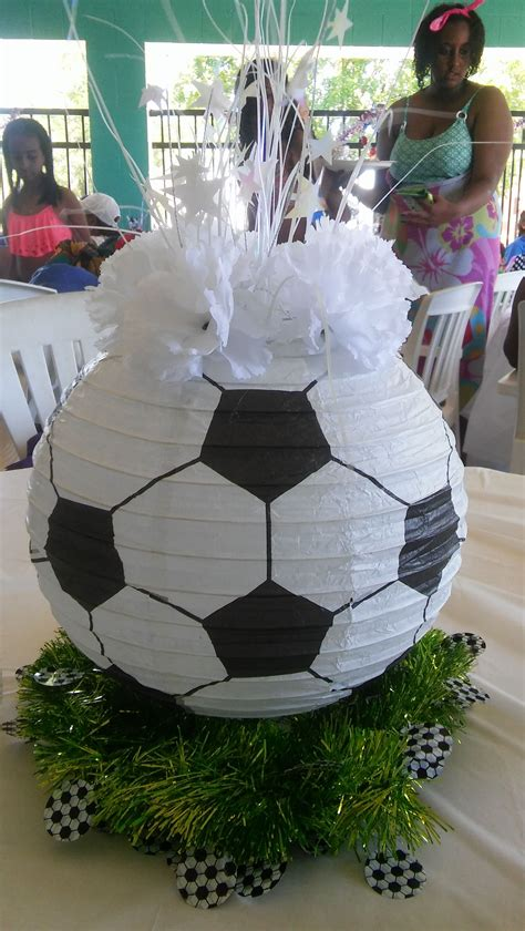 soccer ball paper lantern centerpiece sports party ideas