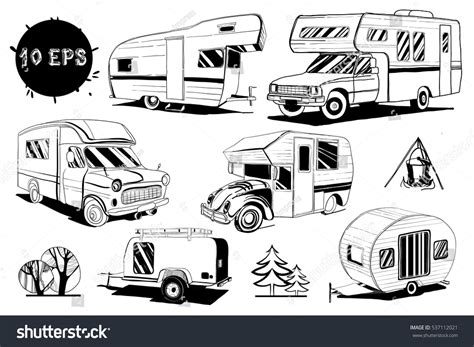 Vector Illustration Set Isolated Hand Drawn Stock Vector