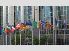 All European Union Countries Flags Waving On Poles