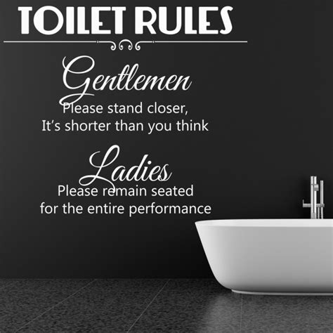 toilet rules ladies  gents wall sticker