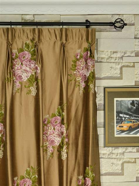 rainbow embroidered camellia dupioni custom  curtains