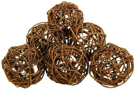 Decorative Orbs Wood Metal Ball Rustic Home Decor Spheres: Buy Set/6 Round Natural Decorative Bamboo Wood Balls At