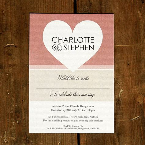 wedding invitations with hearts big love wedding invitation stationery by feel good