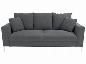 Canapé fixe 2 5 places COZZ coloris gris Canapé pas cher Conforama Ventes pas cher com