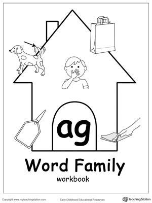ag word family workbook  kindergarten