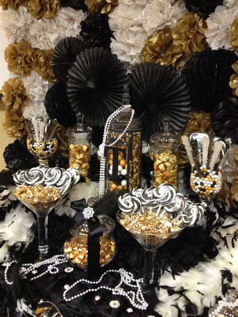 great gatsby themed candy buffet gold black  ivory