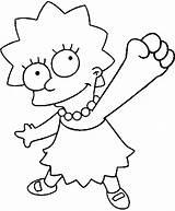 Simpson Lisa Coloring Printable Simpsons Hit sketch template