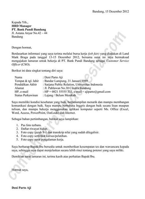 contoh surat lamaran kerja bank informasi bursa job fair